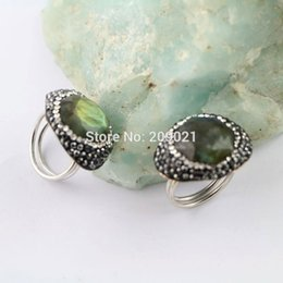 $enCountryForm.capitalKeyWord Canada - Charms ~ 6pcs Labradorite Stone Pave Rhinestone Crystal Rings Jewelry Finding For Women