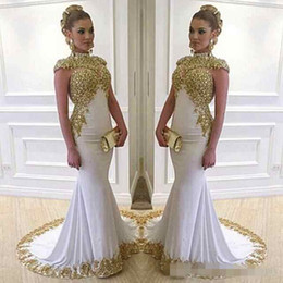 Gold Beaded Applique Canada - 2017 Stunning White Long Evening Dress High Neck Cap Sleeve Beaded Gold Lace Appliques Stretch Satin Mermaid Women Formal Gowns