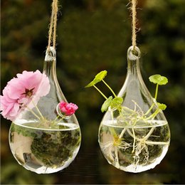 Hanging Bottles Flowers Canada - Clear Glass Hanging Vase Bottle Terrarium Container Plant Pot Flower DIY Table Wedding Garden Decor