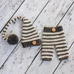 $enCountryForm.capitalKeyWord Australia - Newborn Photography Props Baby Striped Hat Pants Infant Crochet Knitted Christmas Costume in stock