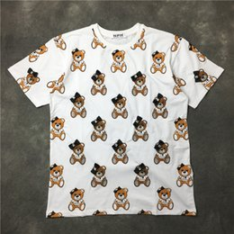Tops D'été À La Mode Pas Cher-La mode la plus récente Lovely bowknot teddy bear T-shirt imprimé Summer trendy Mens Short Sleeve Tee Tops Vêtements