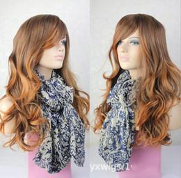 Venta al por mayor de Hatsune miku peluca marrón largo rizado partido sintético cos pelucas 70cm Cosplay pelucas almohadilla para el cabello Perruque peruca femininas