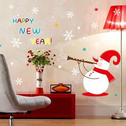 Happy Christmas Stickers Canada - Happy new year merry Christmas Wall Stickers Snowman Removable Wall Sticker For Show Window Decoration free shipping