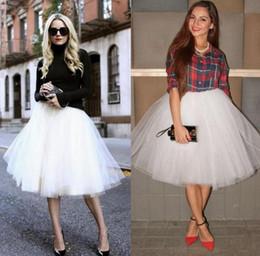 Red White Blue Tutus Australia - 5 Layers White Tulle Party Skirts Hot Selling Women Lady Girls Short Skirt Tulle Tutu Formal Wear Women Clothing Knee Length Skirt