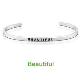 $enCountryForm.capitalKeyWord Canada - Elegant Stainless Steel Engraved BEAUTIFUL Inspirational Quote Hand Stamped Cuff Mantra Bracelet Bangle For Girls Gift