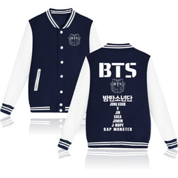 China BTS Kpop Bangtan Boys Baseball Uniform Jacket Coat Women Harajuku Sweatshirts Winter Fashion Hip Hop Album Pink Hoodie Outwear supplier boys outwear long sleeve hoodies suppliers