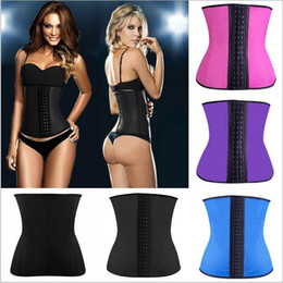 Barato Cintos De Látex Para Mulheres-Latex Waist Trainer Corset Plus Size Steel Bone Workout Cintura Mulheres Slim Body Shaper Girdles Corsets XS-6XL