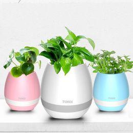 $enCountryForm.capitalKeyWord NZ - New Bluetooth Music Flowerpot Smart Mini Flower Pot Plastic Sensor Colorful Light Plant Pots Table Decoration KCA1003