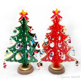 cartoon wooden christmas tree decoration christmas gift ornament table desk decoration free shipping - Wooden Christmas Table Decorations