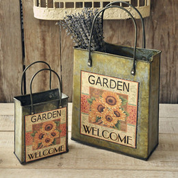 Wholesale Vintage Iron Bucket Flower Pot Plant Shabby Vase Planter Pastoral Style Crafts Home Desktop Decor Photo Props ZA4675