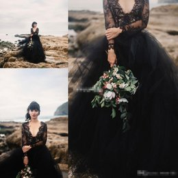 Modern Gothic Wedding Dresses Canada - Black Bohemia Wedding Dresses Backless with Illusion Long Sleeve Puffy Tulle 2017 Boho Cheap Gothic Wedding Party Bridal Formal Gowns Cheap