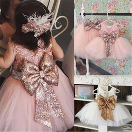 Discount bohemian skirt wholesale - Baby girls lace tutu skirts with sequin big bow toddler wedding dress kids sundress children boutique clothing