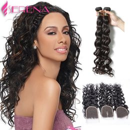 Wet Wavy Human Hair Extensions NZ - Water Wave 3bundles With Closure 7A Malaysian Virgin Hair Wet And Wavy Curly Human Hair Extension Body Wave Frontal With Bundles