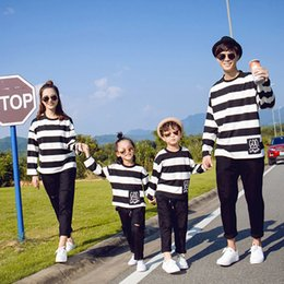 Spring Fashion Looks Canada - Family matching look Striped T shirt long sleeve pullover couples dress parent-child clothes family spring outfits 4colors