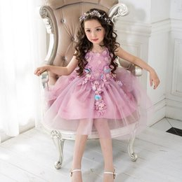 Barato Princesa Do Miúdo Bonito-New Collecting For Eid Dress Summer Princess Sleeveless Big Tutu Skirt Vestidos com flor Kids Girl Lovely Party Dress Purple-Pink Color