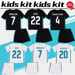 Chemises En Polyester Blanc Pas Cher-2018 Kit pour enfants Maillot de football du Real Madrid 2017/18 Maillots de football White White Away Black Ronaldo Bale ASENSIO ISCO Chemises de football pour enfants