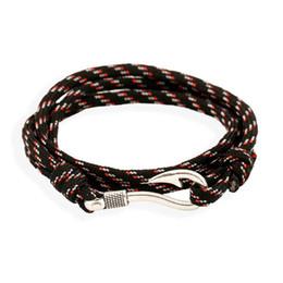Woven Wrap Anchors NZ - Fashion Hand Cuff Wrap Jewelry Fish Hooks Nylon Woven Anchor Bracelet Men Male Friendship Charm Bracelets