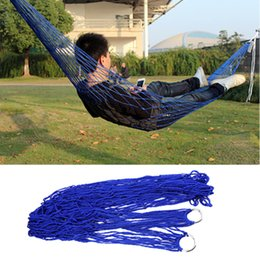 Discount super single beds - Wholesale- 2016 Outdoor Travel Camping Hammock Garden Portable Nylon Hang Mesh Net Sleeping Bed