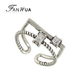 Barato Anéis De Punho Atacado-Atacado- FANHUA Novo Punk Anel Antique Silver Color Geometric Pattern Black White Rhinestone Geometric Cuff Rings for Women