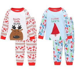 $enCountryForm.capitalKeyWord Canada - Christmas Children Pajamas Suits Santa Sleepwear Deer Snowman Long Sleeve Boys Pj's Kids Clothes At home 100% Cotton 120sets lot