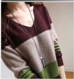 Wholesale-HOT SALE 2014 New Fashion Winter Wool Cashmere Long Women Dress Knitted Pullovers Tops V-neck Slim Warm Sweaters
