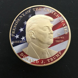 $enCountryForm.capitalKeyWord Canada - 10 pcs Donald Trump The President of The united state of Ameirca 24K real gold plated color souvenir USA coin badge