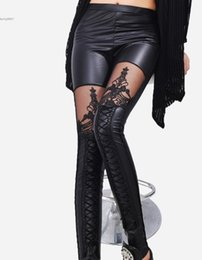 Clothes Bundles Canada - Designer leggings Women Clothes Hollow Lace Pantyhose Synthetic Leather Stitching Embroidery Bundled Sexy Black Fashion Slim Ladies Legging