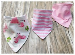 Floral Cotton Layer Canada - 3pcs set Baby cotton Bibs burp Cloths Newborn double layer girls boys Waterproof Triangle Saliva Towel animal owl polka dot style bib YE010