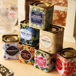 Tin Boxes Wholesale NZ - Metal Portable vintage Tea Tins Lids Container Gifts Boxes for wedding favor promotion gift package Free shipping