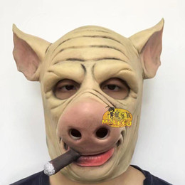 $enCountryForm.capitalKeyWord Canada - Top Grade Saw Adult Animal Scary Masks Pig Head Masks Halloween Party for Funny Full Head Smoking Pig Mask Cosplay Costume Moive Tools