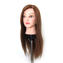 mannequin head hairdressing UK - Brown Mannequin Professional Hairdressing Training Heads thick High Temperature Hair Great Quality Mannequin Head with stands