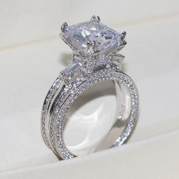 d8f3e0901947 Vecalon mujeres grandes joyas anillo princesa corte 10ct diamante piedra  300 unids Cz 925 anillo de compromiso de plata esterlina regalo