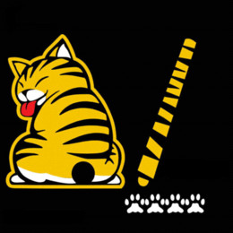 black cat window stickers 2019 - Cartoon Funny Cat Moving Tail Car Stickers Reflective Vinyl Car Window Wiper Decals Auto Car Styling Accessories Yellow