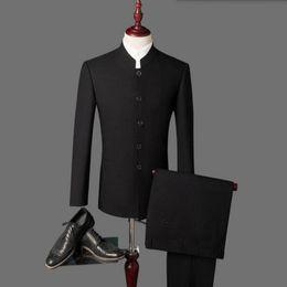 $enCountryForm.capitalKeyWord Canada - New arrival Men's suits Black latest coat pant designs mandarin collar men suits wedding groom wedding suits (Jacket+Pants)