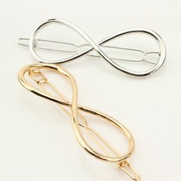 Lucky Clips NZ - Women's Hairpin Fashion Metal Hollow Bow Lucky Number Eight Hair Clip Accessories Jewelry For Gift Wholesale 12 Pcs