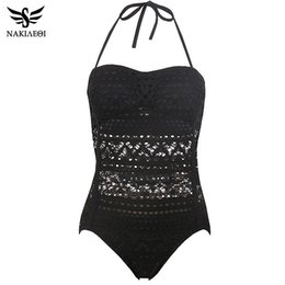 Barato Sexy Retro Swim Wear-Atacado- NAKIAEOI Swimwear One Piece Plus Size Swimwear Mulheres 2017 Sexy Beach Lace Crochet Monokini Swimsuit Retro Bathing Suit Swim Wear