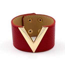 China High Quality Brands Jewelry New Fashion PU Leather Rose gold V-Shaped Bangles Women Wild Wide Leather Bracelets Wristbands OL Cuff Bangles suppliers