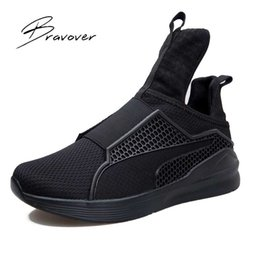 Barato Moda Casual Homens-Atacado- Moda Primavera Outono Men Trainers Casual Mesh Air Men Zapatillas Hombre Y3 Shoes Casual Zapatos planos RIHANNA Creeperd Plus Size