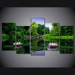 China 5 Pcs Set Framed HD Printed water lilies Flower picture Painting wall art room decor print poster picture canvas Free shipping ny-649 supplier water lily decor suppliers