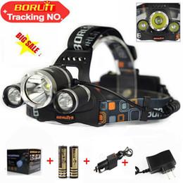 Boruit Headlamps Canada - Boruit 6000 Lumens Headlight 3 LED Cree XM-L T6+2R5 Head Lamp High Power LED Headlamp +2*18650 battery+Charger+car charger