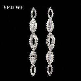 Trendy Wedding Gifts Canada - YFJEWE Trendy Crystal Long Dangle Earrings for Women Gold and Silver Plated Fashion Wedding Gift Jewelry Lady's Brincos E410
