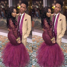 Arabic Style Burgundy Prom Dresses For Black Girls Formal Red Carpet Celebrity Dress Mermaid Long Sleeves Lace Evening Pageant Gowns