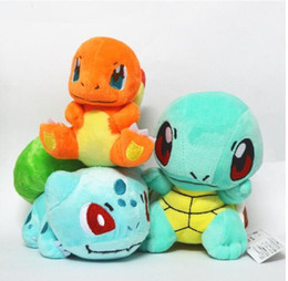 Pokemon Wholesale Figure Australia - Poke Figures Plush Dolls Toys 2 Style Children 13-15cm Pikachu Charmander Bulbasaur Jeni Turtle Poke Ball Plush Dolls Toy