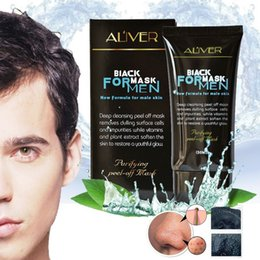 acne purifying peel off black mask NZ - 2017 new HOT ALIVER Male blackheads removers Mask purifying peel off black mask For Man Deep cleansing tighten pores 50g