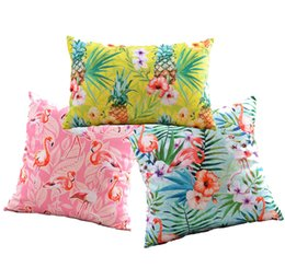 triangle pillow cases UK - Tropical Plants Hibiscus Flower Cushion Covers Pineapple Flamingo Bird Pillow Cover Geometric Triangles Velvet Pillow Case For Sofa Seat