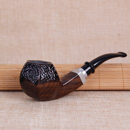 smoking wood pipes carve NZ - free shipping USA Canada Carving Ebony wood Pipe Vintage wood Smoking Pipes Classic Herb Tobacco Pipes smoking Gift cigarette holder