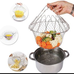kitchen basket strainer Canada - New Foldable Steam Rinse Strain Fry Chef Basket Strainer Net Kitchen Cooking Tool with Retail Package