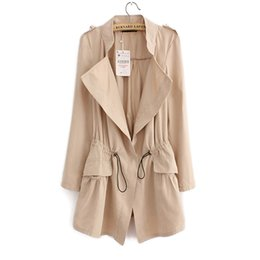 Wholesale 2017 Womens Fashion Long Trench Coat Solid Color Long Sleeve Slim Trench Coats Thin Windbreaker Overcoat CT018