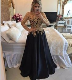 Ingrosso abito da sera in oro nero e oro vestito da una linea in pizzo abito da sera con maniche lunghe gioiello abiti da sera