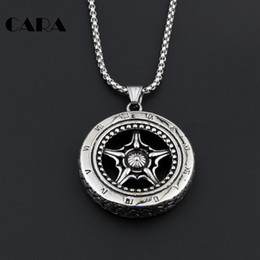 $enCountryForm.capitalKeyWord Canada - CARA 2017 New Arrival men's hip hop punk style 316L stainless steel Vintage silver color wheel pendant necklace,CAGF0002